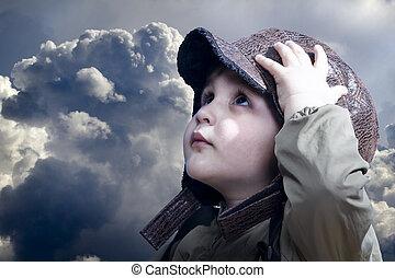 niño, poco, pilot., vendimia, favorecedor, hat., bebé, aviación, sueños