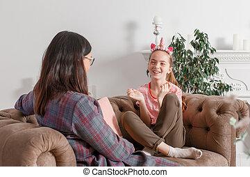 niño, psicólogo, hablar, oficina., ayuda, psicológico, sonriente, adolescente, children., adolescente, el suyo