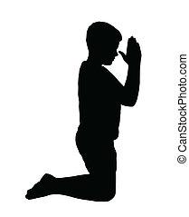 niño, rezando, arrodillar