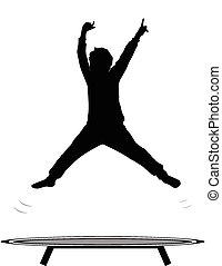 niño, saltar, trampolín