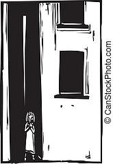 Niño solo en callejón