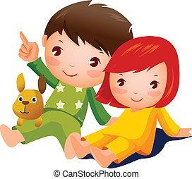 Niño y chica sentados