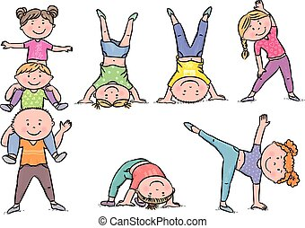 niños, aeróbicos