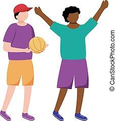 niños, africano, elemento, norteamericano, caricatura, fondo., juego, carácter, blanco, illustration., caucásico, plano, niños, aislado, niñez, feliz, alegre, juntos, poco, pelota, boys., diseño, vector