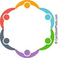 Niños alrededor de un círculo. Diseño de logotipo Vector