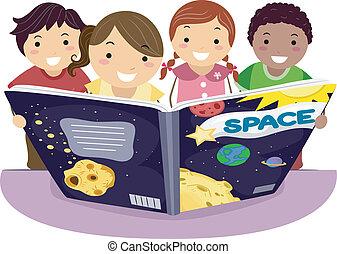 Niños aprendiendo astronomía
