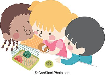 niños, aula, mascota, ilustración
