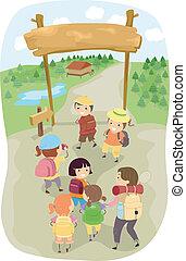 niños, campamento