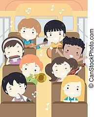 niños, campo, ilustración, música, autobús