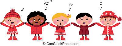 niños, canción, multicultural, el caroling, sonriente, canto, feliz