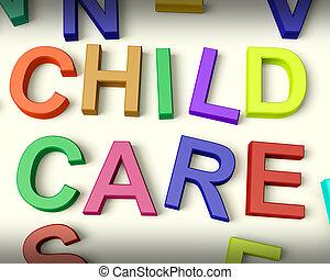 niños, cartas, plástico, escrito, niño, multicolor, cuidado
