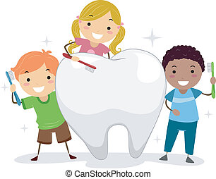 Niños cepillándose un diente