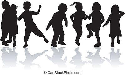 niños, childrens, -, siluetas, negro