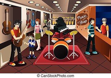 Niños comprando instrumentos musicales