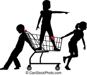 niños, compras, expedición, grande, conseguir, carrito, rodante