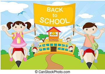 Niños con lápiz yendo a la escuela