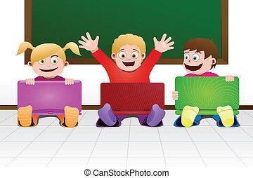 Niños con laptop en clase