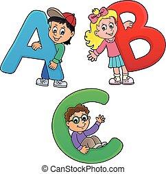 Niños con letras ABC tema 1