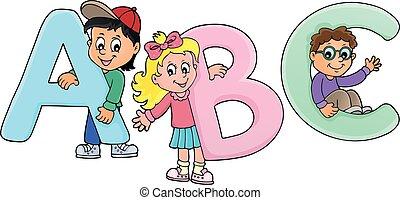 Niños con letras ABC tema 2