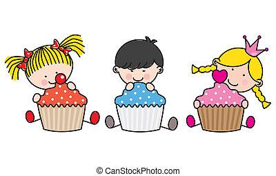 Niños con pastelitos de colores.