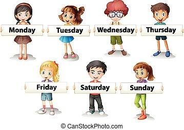 Niños con tarjetas diciendo días de la semana
