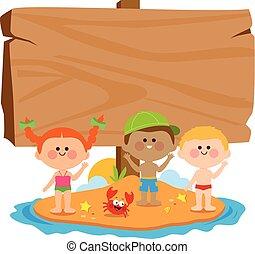 Niños con trajes de baño en una isla de verano y una señal de madera en blanco. Ilustración de vectores