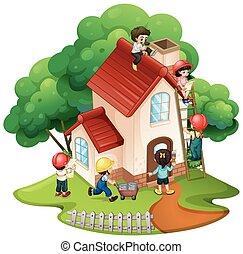 Niños construyendo una casita
