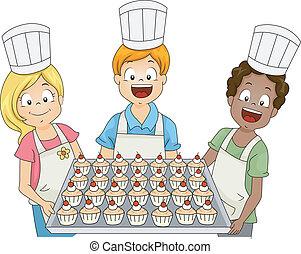 niños, cupcake