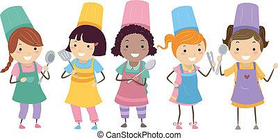 Niños de clase de cocina