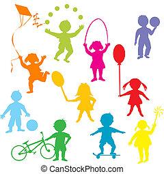 Niños de color jugando siluetas