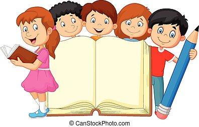Niños de dibujos animados con libros y lápiz