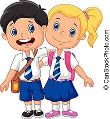 Niños de escuela de dibujos animados