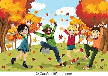 Niños de otoño del otoño