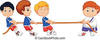Niños del Cartoon jugando al tira y afloja