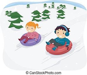 Niños del tubo de nieve