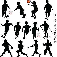 Niños deportivos siluetas