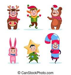 Niños disfrazados de Navidad. Niños felices de dibujos animados saludando la Navidad. Personajes de vector de vacaciones de invierno