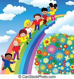 Niños en el arco iris.