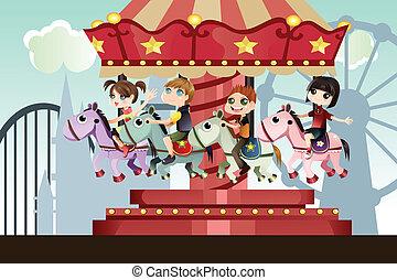 Niños en el parque de atracciones