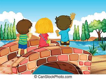 Niños en el puente