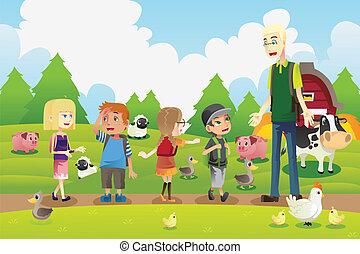 Niños en un viaje de campo a una granja