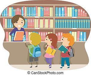 Niños en una biblioteca