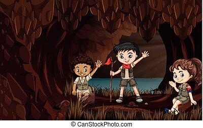 Niños en una cueva