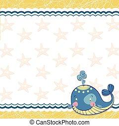 Niños enmarcados con una ballena y una estrella del mar