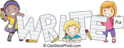niños, escritura