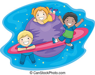 niños, espacio exterior