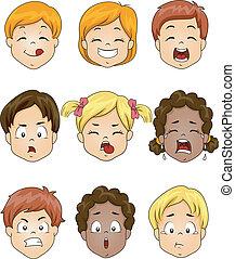 niños, expresión, facial