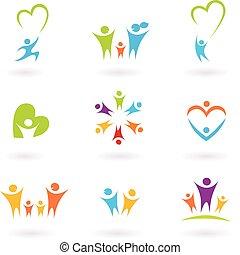 Niños, familia y icono comunitario