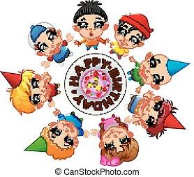 Niños felices celebrando su cumpleaños