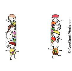 Niños felices con estandarte